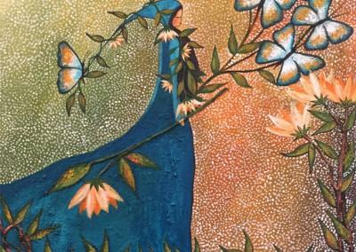 Anqasmayu Pillpintu | Mariposa azul como el rio | 60 x 70
