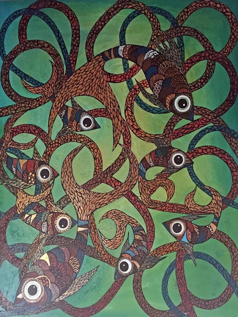 Challua tusuy | El baile del pescado | Der Tanz des Fisches | 100 x 120 | Copyright URPI