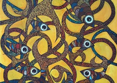 Challua tusuy | El baile del pescado | Der Tanz des Fisches | 100 x 120