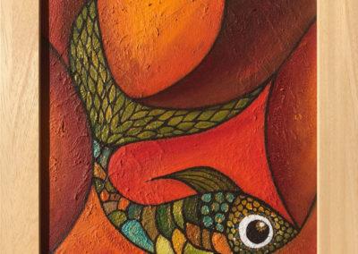 Pez rojo | Roter Fisch | 40 x 40