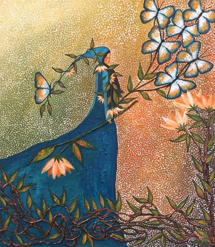 Anqasmayu Pillpa | Mariposa azul como el rio | 60 x 70