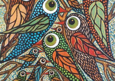 Pichiu qalla | Ave tierna colorada | 40 x 40 | Copyright URPI