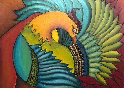 Entre plumas | In Federn gebettet | 100 x 100 | Copyright URPI