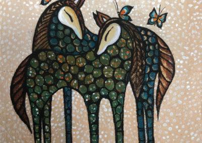 Caballitos de Colores II | Farbenfrohe Pferdchen | 15 x 15 | Copyright URPI